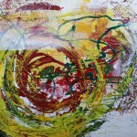 Spirale des Lebens - Acryl, Collage, Schrift auf Kunststoff 100 x 100 cm