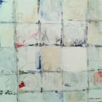 """Das weiß umrissene Quadrat - juriert für """"open minds""""(nach einem Gedicht von Arno Reinfrank) 50 x 50 cm Acryl Struktur Kreide (verkauft)"""
