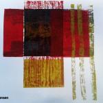 Holzdruck rot gold