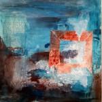 Wintergeschichte 50 x 50 cm Acryl Collage Struktur Tinte