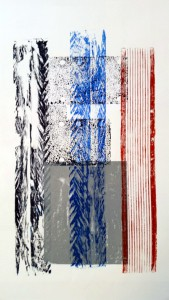 Holzdruck blau-grau-rot